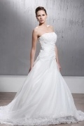 A line Skirt Chapel Train Wedding Dress