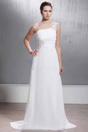 A Line One shoulder Court Train Bridal Gown