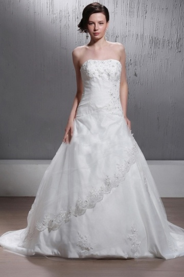 A Line Strapless Chapel Train Appliques Wedding Gown