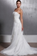 A Line Appliques Chapel Train Wedding Dress
