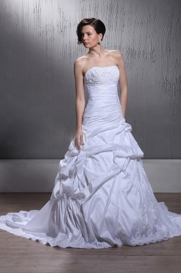 A Line Strapless Appliques Chapel Train Wedding Dress