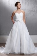 Sweetheart Flower Court Train Organza Wedding Dress