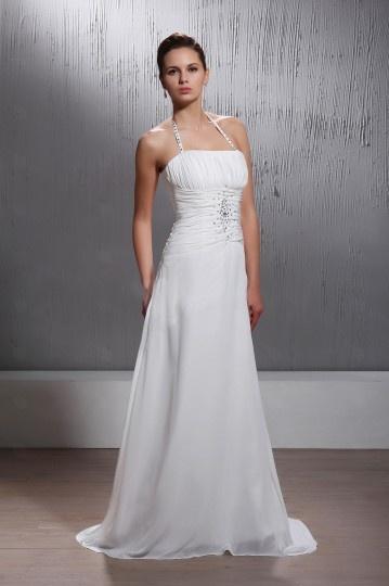Halter A line Court Train Wedding Dress