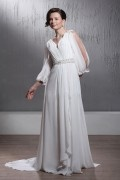 Empire V neck Court Train 3 / 4 Length Sleeves Wedding Dress Spring Trends