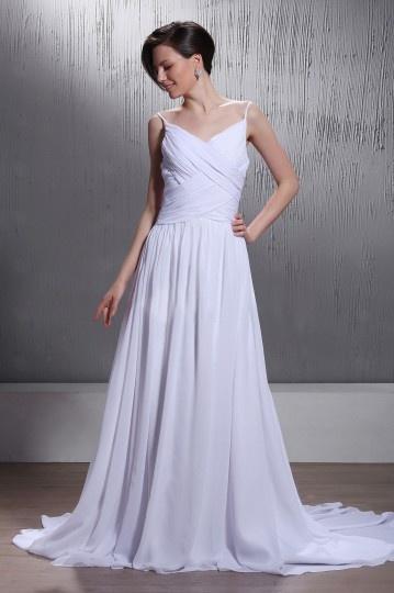 Vestido de noiva praia Império com alça espaguete decote em coração
