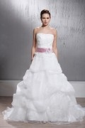 Sexy Strapless A line Ruffles Flower Backless Organza Wedding Dress