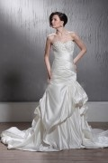 Trumpet Floor Length Sweetheart Pleated Satin Chapel Wedding Dress