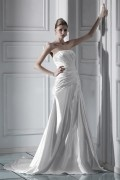 A Line Strapless Floor Length Chapel Ruffles Wedding Dress