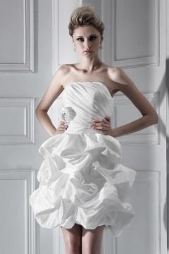 Precioso Vestido de Novia Corto con Strapless Volante Novedades