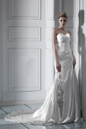 Ärmellos Herz Ausschnitt bodenlanges Falten Schnürung Brautkleid Persun