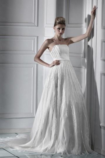Empire Strapless Chapel Ruffling Sequins Plus Size Wedding Dress