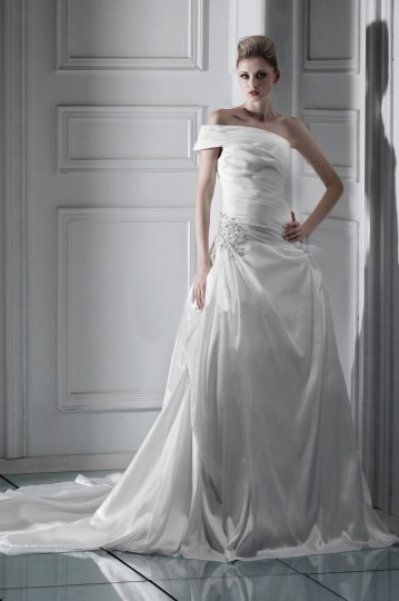 A Line One Shoulder Floor Length Pleated Wedding Gown