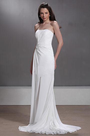 Vestido de noiva praia Império Sem alça cauda capela decorado de jóias