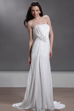 Robe de mariée plage Empire sans bretelle à traîne Chapel ornée de bijoux