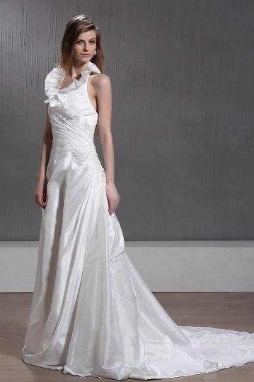 A Line Halter Floor Length Chapel Train Pleated Bridal Gown
