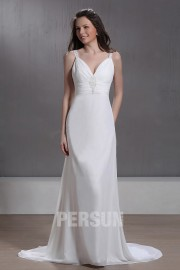 Column V neck Floor length Chapel Beach Wedding Dress