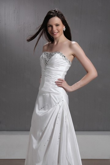 A line Strapless Sleeveless Chapel Lace up Wedding Dress