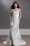 A line Sweetheart Embroidery Satin Bridal Gown
