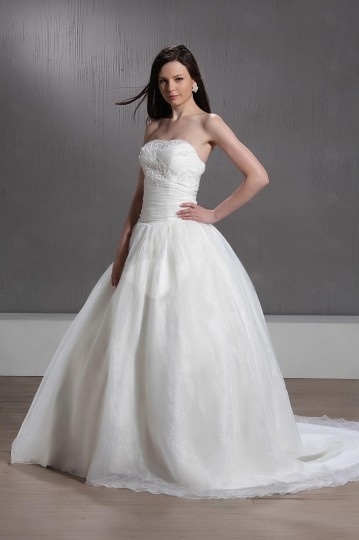 Strapless Ball Gown Beaded Chapel Train Wedding Dress