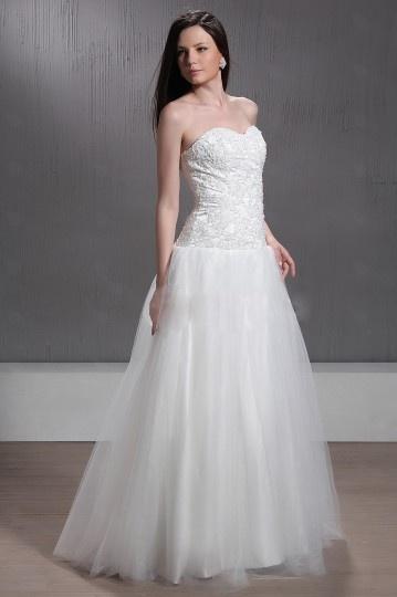 Vestido de noiva princesa linha A decote em coração Vestido longo