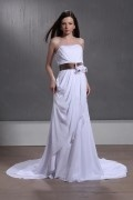 Empire Strapless Floor length Chapel Wedding Dress