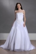 Beaded Strapless Ball Gown Chapel Best Sell Wedding Dress