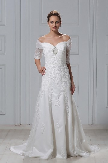 Off the shoulder Half Sleeve A Line Embroidery Wedding Dress