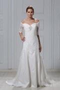 Vestido de noiva vintage um ombro nu com manga tornozelo comprimento linha A bordado