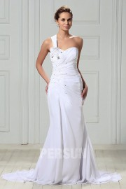 A Line One Shoulder Lace up Chapel Train Pleats Beach Wedding Dress