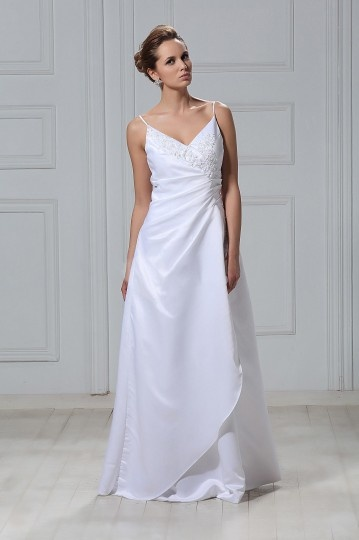 A Line / Princess Spaghetti Straps Sweeping Wedding Dress