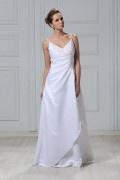 Vestido de noiva simple com alça espaguete Vestido longo