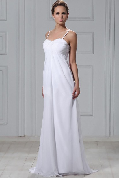 Empire Spagetti Straps Sweep Train Beach Wedding Dress