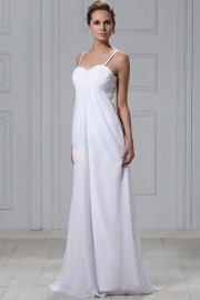 Vestido de noiva praia Império cauda varredura com alça espaguete