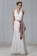 Fashion Empire Halter Top Floor Length Lace Wedding Dress