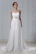 Column Court Long Chiffon Sheath Wedding Dress