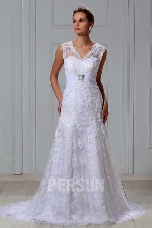 Vintage Vestido de Novia de Encaje con Escote en V Cola Corte Talla Grande