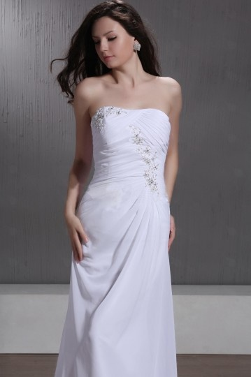 Sheath / Column Strapless Floor Length Chapel Beaded Wedding Dress