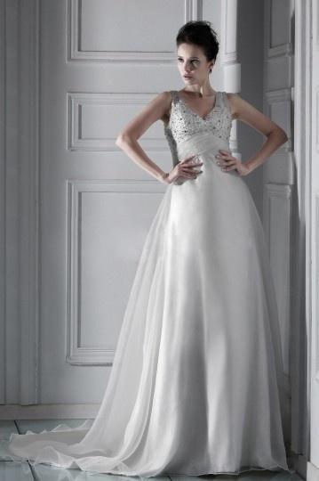 Fabuloso Vestido de Novia con Escote en V Cola Catedral Corte A/Corte Princesa