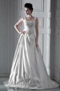 Glamorous A Line Off The Shoulder Cathedral Train Embroidery Wedding Dress