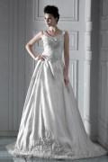 Herrliches Ballgown bodenlanges Stickerei Spitze 2014 Brautkleid aus Satin