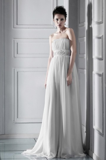 Vestido de noiva de luxo Império Sem alça cauda catedral