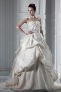 A line Sweetheart Floor length Chapel Pleats & Appliques Bridal Gown