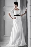A line Square Half Sleeve Floor length Chapel Plus Size Bridal Dress