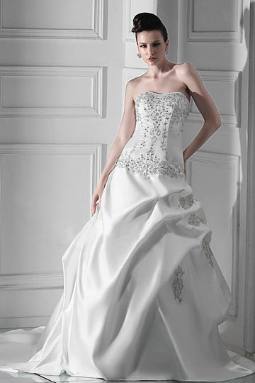 A line Strapless Floor length Chapel Pick up Wedding Dress