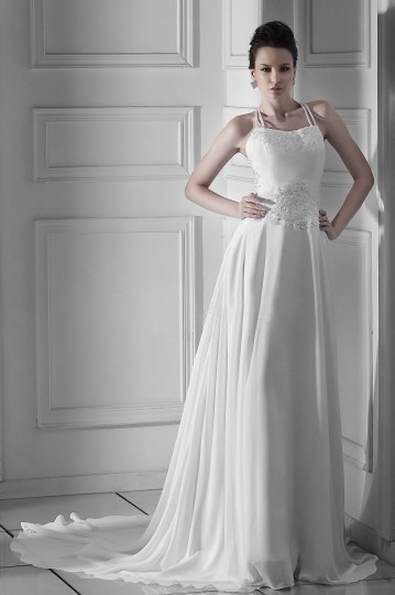 A Line Square Halter Floor length Embroidery Wedding Dress