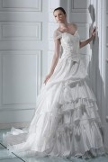 Ball Gown Off the Shoulder Floor length Chapel Train Wedding Dress