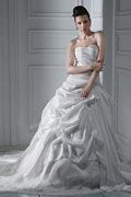Fabulous Strapless Ball Gown with Chapel Train Lace Wedding Dress