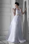 Empire Halter Floor length Chapel Appliques Plus Size Wedding Dress