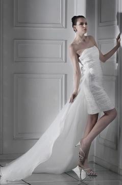 Sexy Sheath Strapless Ruching Zipper Short Wedding Dress UK
