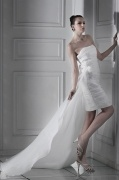 Sheath / Column Strapless Knee length Watteau Ruched Wedding Dress